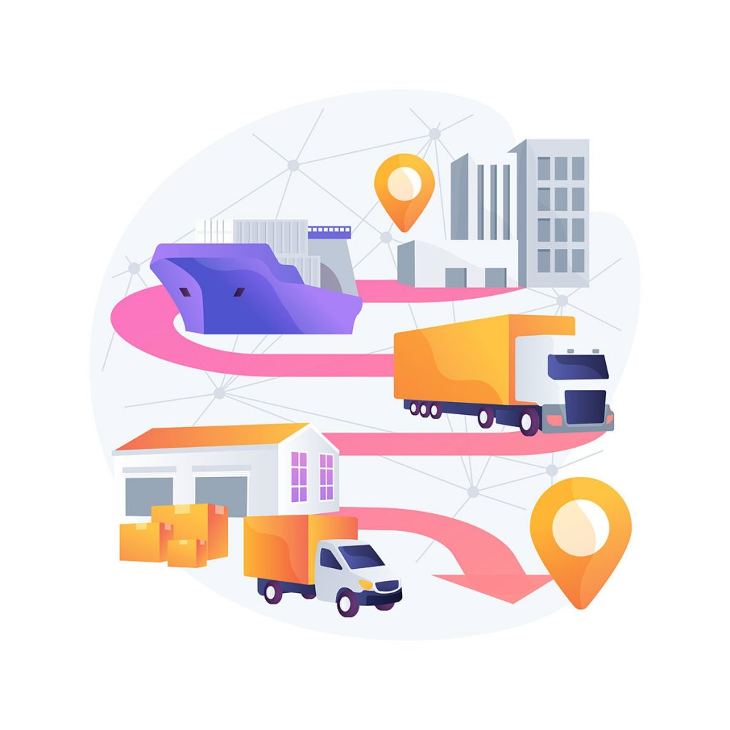 Blockchain in transport technology abstract concept vector illustration.